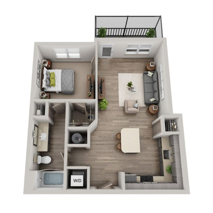 Rendering  of the Amore floor plan layout
