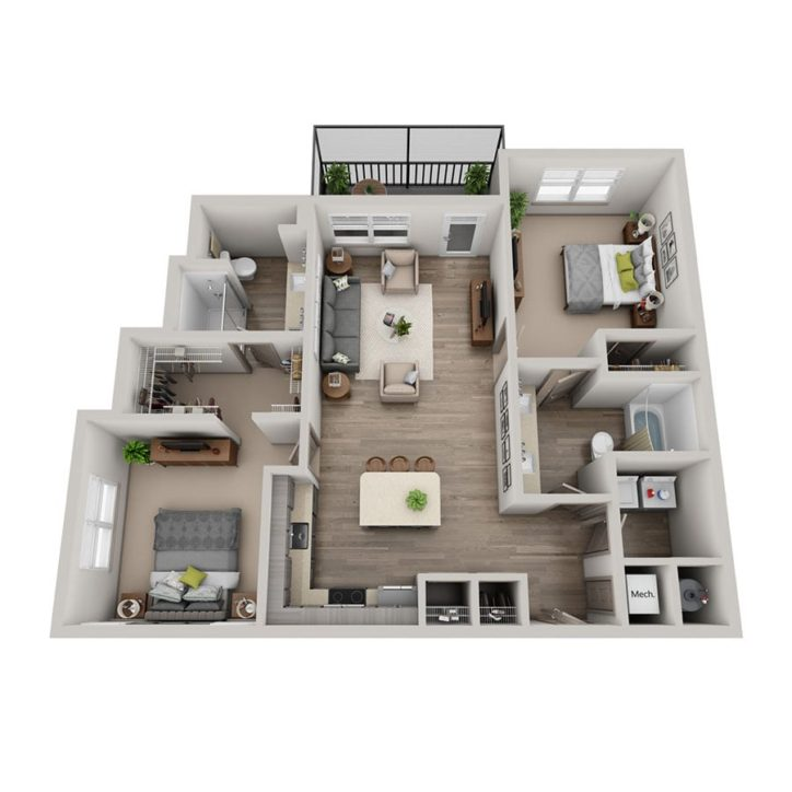 Rendering  of the Luz floor plan layout