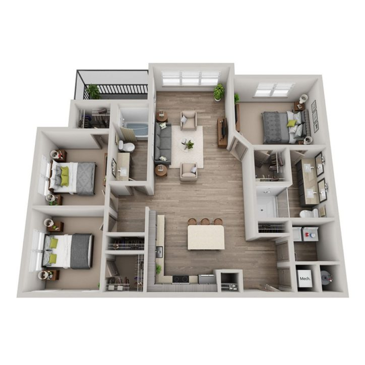 Rendering  of the Veve floor plan layout