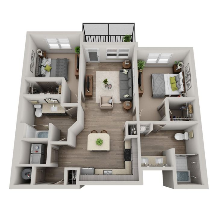 Rendering  of the Cielo floor plan layout